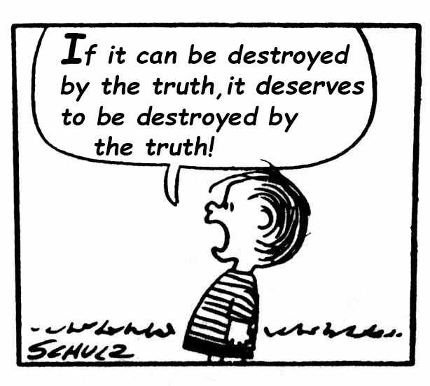 "Comic of boy shouting with the text, ""If it can be destroyed by the truth, it deserves to be destroyed by the truth!"""