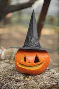 picture of a jack-o-lantern with a witch's hat on it.
