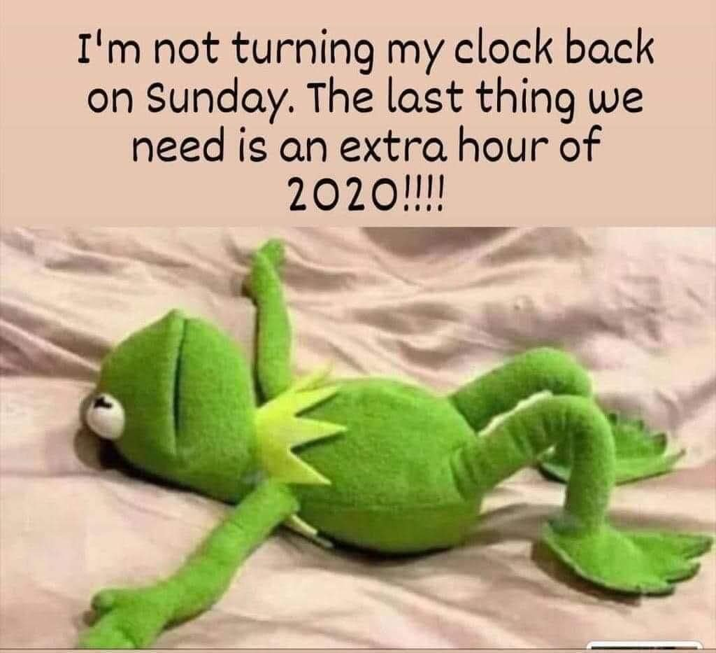 "Picture of Kermit the Frog laying on his back with the words ""I'm not turning my clock back on Sunday. The last thing we need is an extra hour of 2020!"""